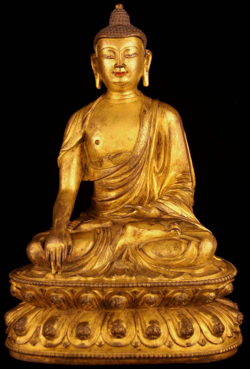 old antique tibetan buddhism gilded bronze buddha statue sakyamuni buddha. Black Bedroom Furniture Sets. Home Design Ideas