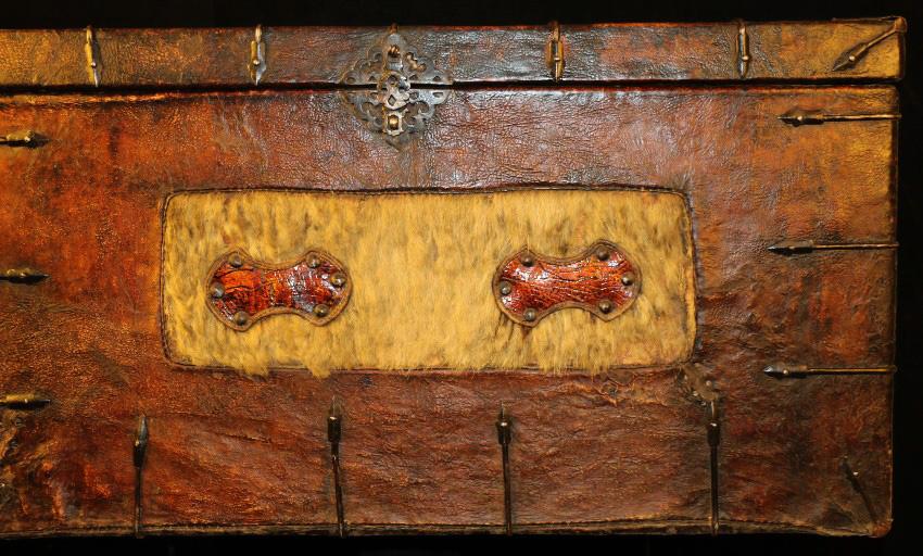 Wonderful Large 18th Century Old Antique Tibetan Noble Original Skin Wooden  Cabinet Box     Antique Furniture